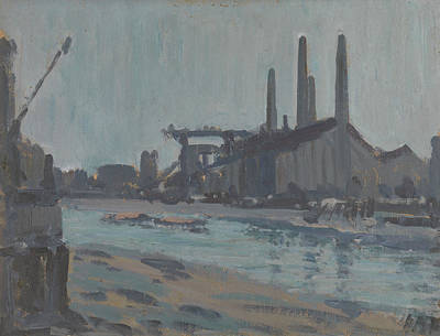 Painting - Landscape With Industrial Buildings By A River by Treasury Classics Art