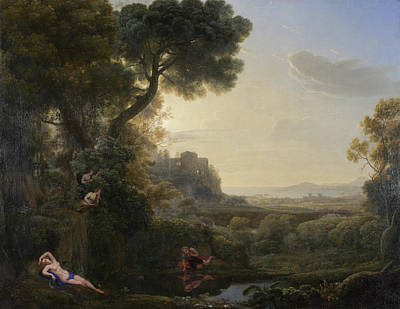 Legend Painting - Landscape With Narcissus And Echo by Claude Lorrain