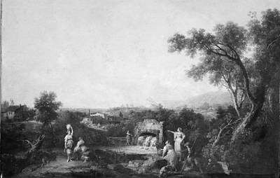 Landscape With Peasants At A Fountain Original