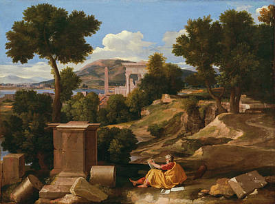 Baptism Painting - Landscape With Saint John On Patmos by Nicolas Poussin