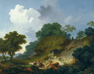 Agricultural Painting - Landscape With Shepherds And Flock Of Sheep by Jean-Honore Fragonard