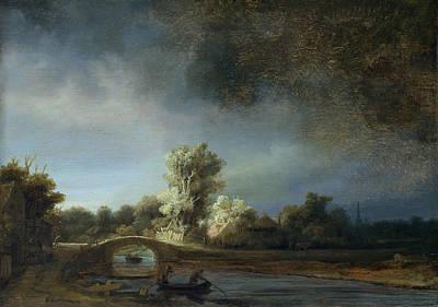 Marine Painting - Landscape With Stone Bridge by Rembrandt van Rijn