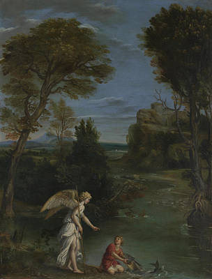 Digital Art - Landscape With Tobias Laying Hold Of The Fish by Domenichino