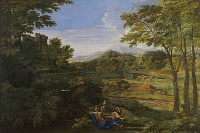 Painting - Landscape With Two Nymphs And A Snake by Nicolas Poussin