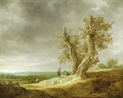 Landscape With Two Oaks Art Print by Jan van Goyen