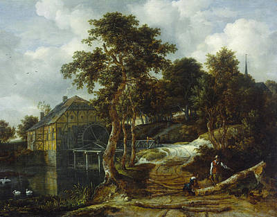 Water Mill Painting - Landscape With Watermill by Jacob van Ruisdael