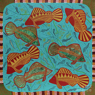 Painting - Large Barramundi Swimming  by Clifford Madsen