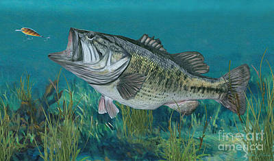 Digital Art - Largemouth Bass by Walter Colvin