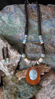 Heishi Jewelry - Larimar Set In Gourd Wood #d160 by Barbara Prestridge