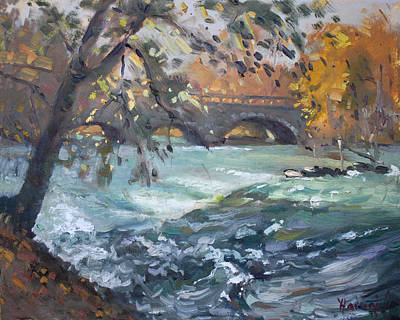 Niagara Falls Painting - Late Afternoon By Niagara River by Ylli Haruni