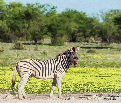 Animal Digital Art - Laughing Zebra by Liz Leyden