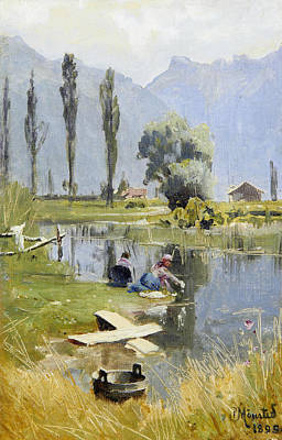 Painting - Laundry Day by Peder Monsted