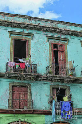 Urban Style Clothes Photograph - Laundry Hanging From Old Houses In Cuba by Patricia Hofmeester