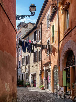 Trastevere Photograph - Laundry In Trastevere District Of Rome by Frank Bach