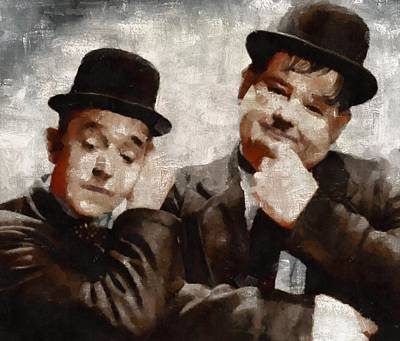 Elvis Presley Painting - Laurel And Hardy Hollywood Legends by Mary Bassett