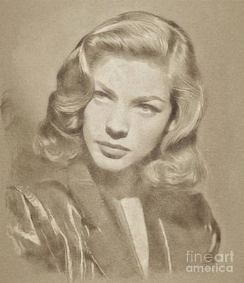 Musicians Drawings - Lauren Bacall, Hollywood Legend by John Springfield by John Springfield