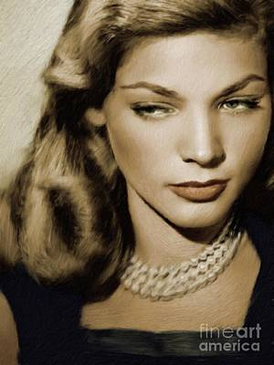 Musician Royalty-Free and Rights-Managed Images - Lauren Bacall, Vintage Actress by Mary Bassett
