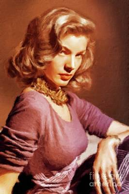 Musicians Royalty-Free and Rights-Managed Images - Lauren Bacall Vintage Hollywood Actress by Mary Bassett