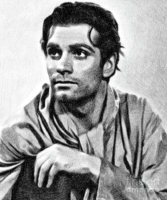 Musicians Drawings Rights Managed Images - Laurence Olivier, Vintage Actor by JS Royalty-Free Image by John Springfield