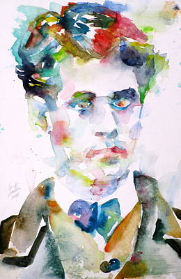 Comte Painting - Lautreamont - Watercolor Portrait by Fabrizio Cassetta