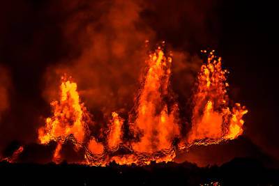 Lava Fountains At Night, Eruption Art Print by Panoramic Images