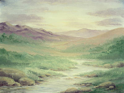 Mountains Painting - Lazy Creek by Cathy Cleveland