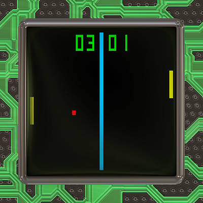 Lcd Screen With Retro Style Game Generated Texture Art Print by Miroslav Nemecek