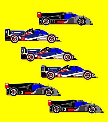 Audi R18 Digital Art - Le Mans 2011 Top 6 Cars by Asbjorn Lonvig