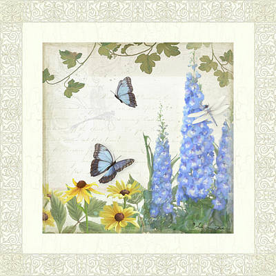 Art Print featuring the painting Le Petit Jardin 1 - Garden Floral W Butterflies, Dragonflies, Daisies And Delphinium by Audrey Jeanne Roberts