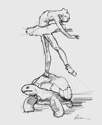 Ballerina Drawing - Le Roi De Tortue by H James Hoff