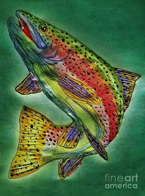 Leaping Trout Art Print by Scott D Van Osdol