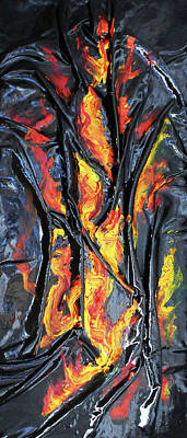 Mixed Media - Leather And Flames by Angela Stout