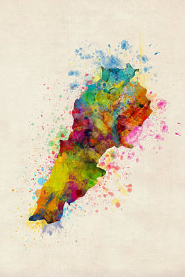 Digital Art - Lebanon Watercolor Map by Michael Tompsett