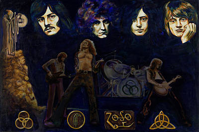 Painting - Led Zeppelin Four by Charles Bickel