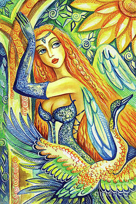 Painting - Fairy Leda And The Swan by Eva Campbell