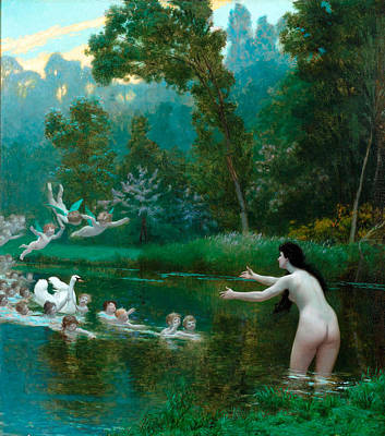 Leda And The Swan Painting - Leda And The Swan by Jean-Leon Gerome