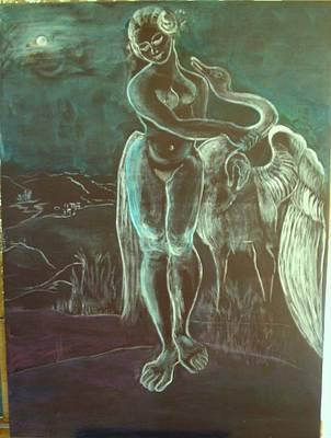 Leda And The Swan Art Print by Michele D B