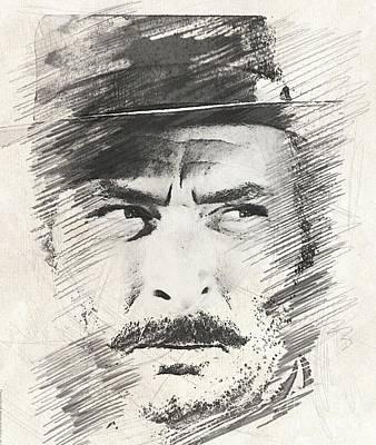 Musicians Drawings - Lee Van Cleef, Actor by John Springfield