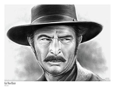 Western Drawing - Lee Van Cleef by Greg Joens