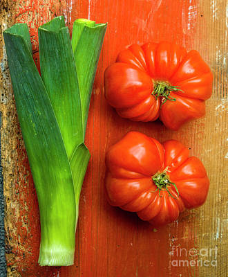Food And Drink Photograph - Leek And Tomatoes by Bernard Jaubert