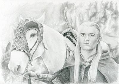 Orlando Bloom Drawing - Legolas Greenleaf by Bitten Kari