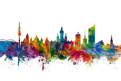 Digital Art - Leipzig Germany Skyline by Michael Tompsett