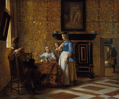 Window Painting - Leisure Time In An Elegant Setting by Pieter de Hooch