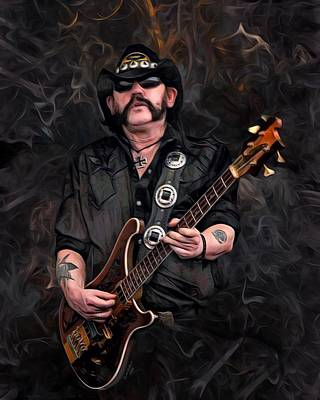 Lemmy Digital Art - Lemmy Kilmister With Guitar by Scotts Digital Designs