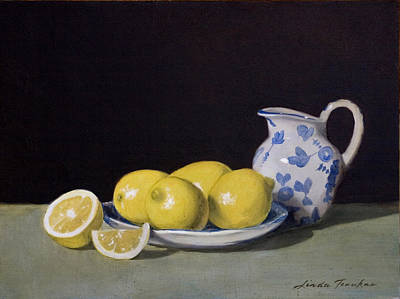 Lemon Painting - Lemon Cream by Linda Tenukas
