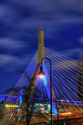 Architecture Photograph - Leonard P Zakim Bridge At Night - Boston by Joann Vitali