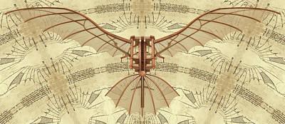 Leonardo Da Vinci Antique Flying Machine Under Parchment Art Print