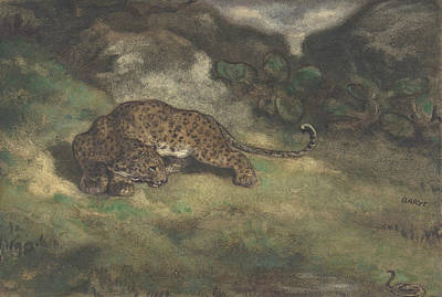 Leopard Drawing - Leopard And Serpent by Antoine-Louis Barye