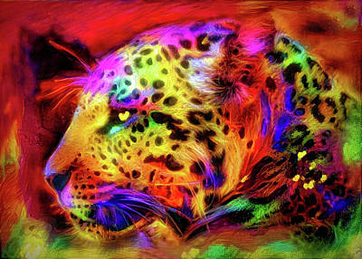 Mixed Media - Leopard by Lilia D