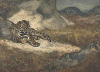 Leopard Drawing - Leopard Lying Down by Antoine-Louis Barye